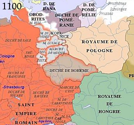 Morava na mapě Evropy v roce 1100