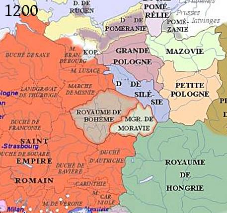 Morava na mapě Evropy v roce 1200