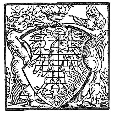 dva andělé nesoucí moravský erb (tisk z 1556)