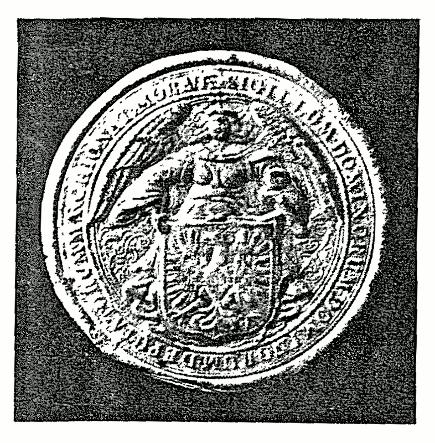 malá zemská pečeť - 17. století, s moravským erbem drženým andělem