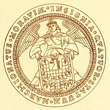 velká zemská pečeť (1720) s moravským erbem drženým andělem