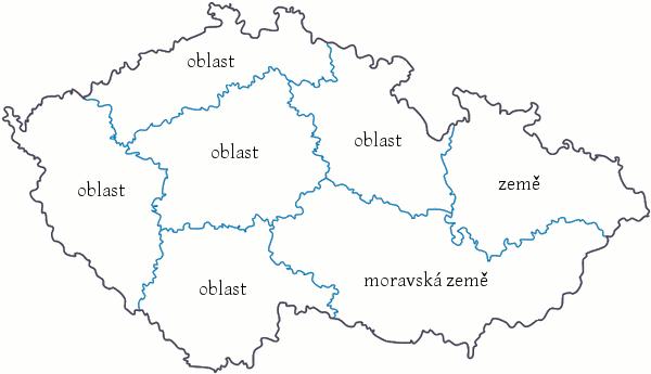 rozdělení České republiky na oblasti a země podle názvosloví archivů druhého stupně