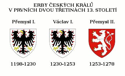 přehled vývoje erbů českých králů v prvních dvou třetinách 13. století