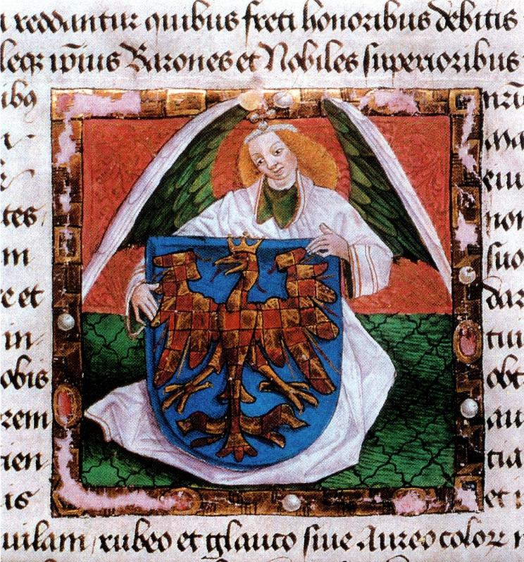 detail listiny Fridricha III. ze 7. 12. 1462 polepšující Moravanům zemský erb