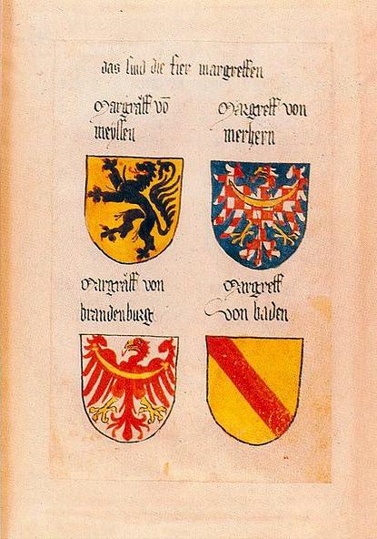 Ingeramův kodex - strana s erbem moravského markraběte