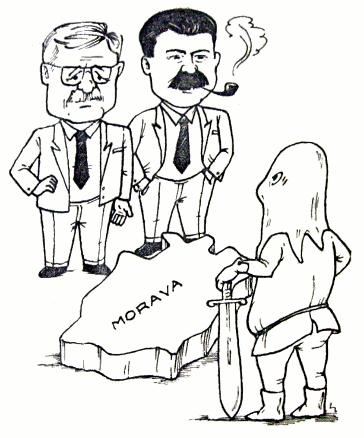 karikatura o dělení Moravy Klausovou vládou (1993)