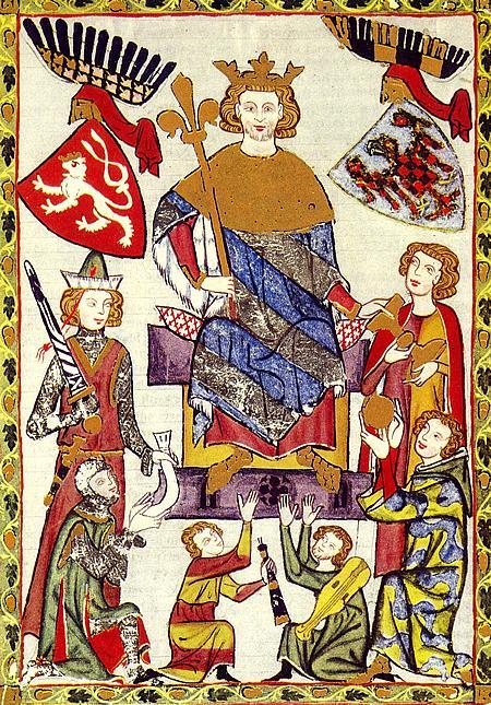 Václav II. (I.) v Kodexu Manesse s erbem Moravy