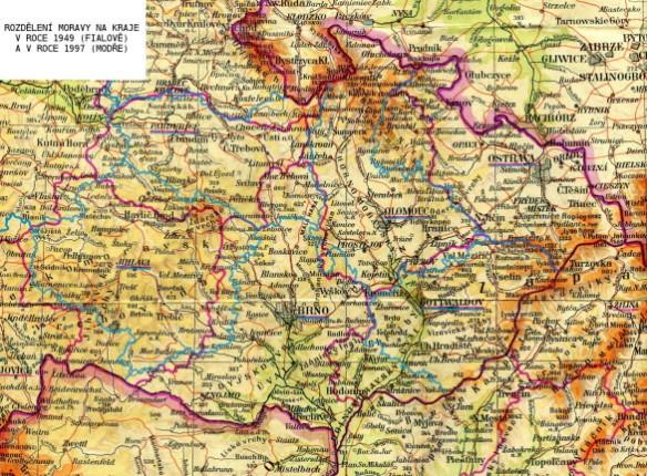 České kraje na Moravě 1949 a 2007