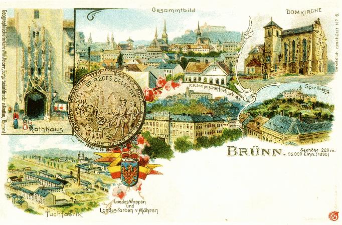 pohlednice Brna se zemským znakem a barvami Moravy