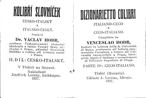 Kolibří slovníček vydaný na Moravě