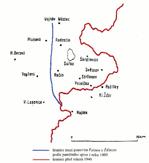 hranice mezi moravskou a českou částí žďárského panství
