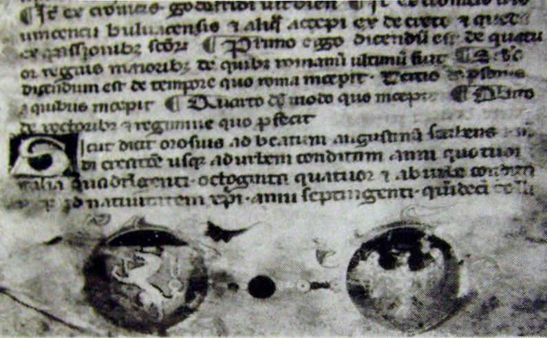 černobílá reprodukce titulní strany v Kórniku uloženého opisu kroniky Martina Opavského