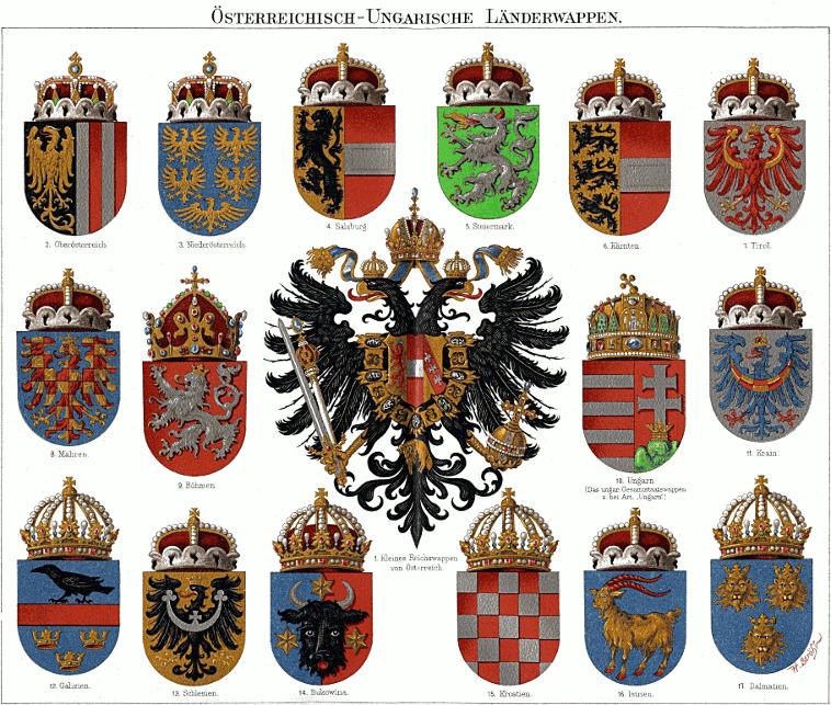 Wappen Mährens in der Tabelle der österreichisch-ungarischen Länderwappen aus dem Mayers Konversations Lexikon
