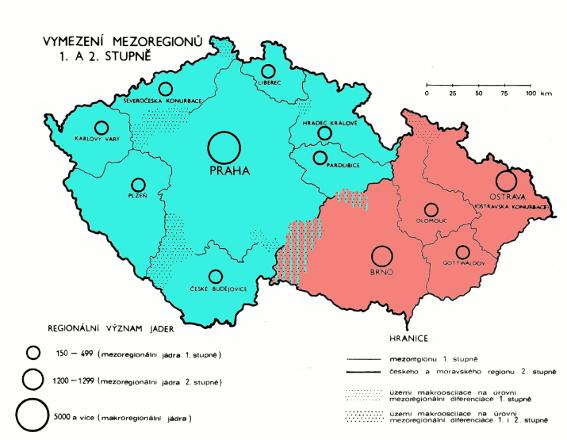 mezoregiony Moravy 1978