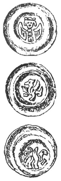 mince markraběte Přemysla III. s různými heraldickými zvířecími motivy