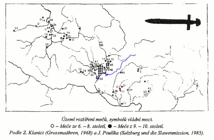 nálezy staromoravských mečů (v mapě)