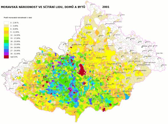 moravská národnost ve sčítání lidu 2001 podle obcí
