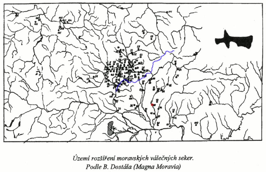 nálezy moravských válečných sekyr (v mapě)
