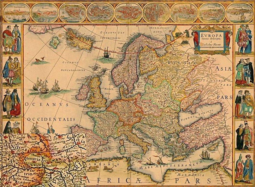 Morava na mapě Evropy -1640-