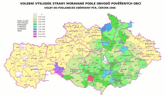 Volební výsledek Moravanů PS PČR 2006