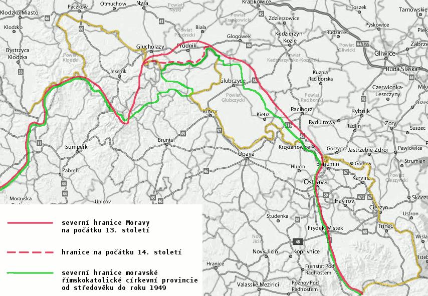 severní hranice Moravy ve středověku