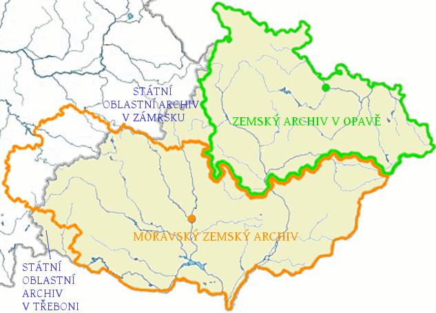územní působnost českých oblastních archivů na území Moravy