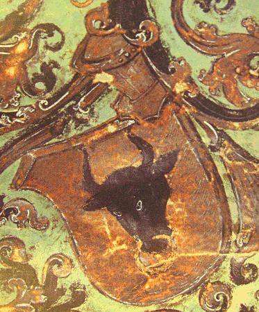 erb Jana z Pernštejna (1506) z moravských zemských desek se zlatým polem