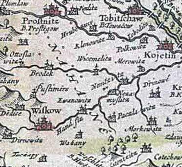 nápis Na Hané na Komenského mapě Moravy