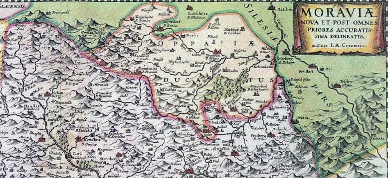 Opavsko na Komenského mapě Moravy