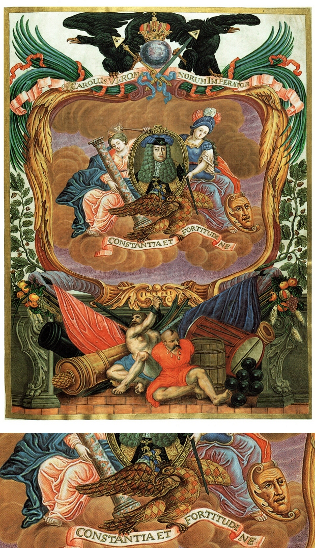 vyobrazení Karla VI. s moravskou orlicí ze stavovských rukopisů