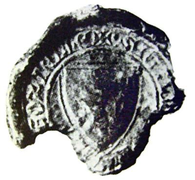 fotografie nejstarší pečeti města Podivína (1400)