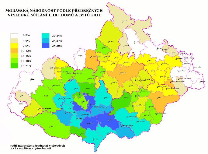 Moravská národnost na mapě Moravy podle předběžných výsledků sčítání lidu 2011