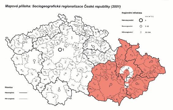 mezoregiony Moravy 2001