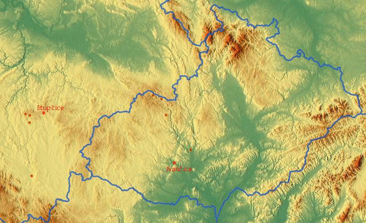 mapa učitelských působišť Václava Novotného staršího