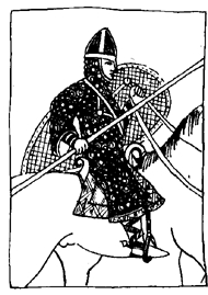 Bojovník s normanským štítem