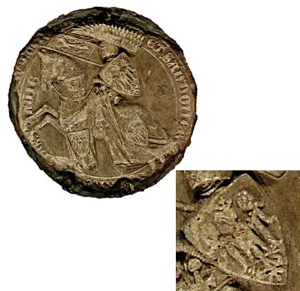fotografie aversu druhé pečeti Václava II. (I.) s detailem šachované orlice