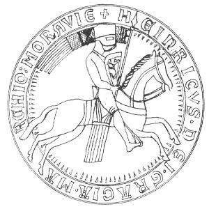 kresba 2. pečeti moravského markraběte Vladislava I. Jindřicha (1213)