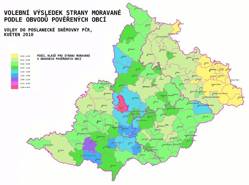 volební výsledek Moravanů - PS PČR 2010