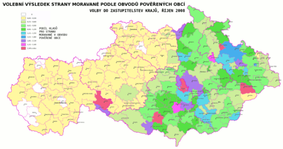 Volební výsledek Moravanů do krajů 2008