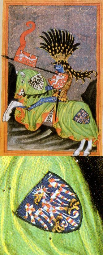 moravská orlice na vyobrazení Václava I. z knihy Jana z Gelnhausenu