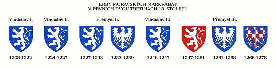 přehled vývoje erbů moravských markrabat v prvních dvou třetinách 13. století