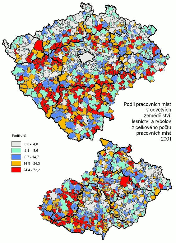 podíl pracujících v zemědělství v Čechách a na Moravě