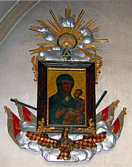 zlato-červená moravská orlice v kostele sv. Jakuba v Brně
