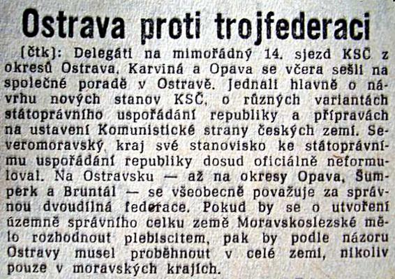 1968: Ostrava proti obnovení Moravskoslezské země