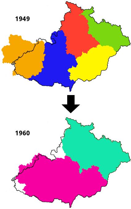 změna krajů 1949-1960