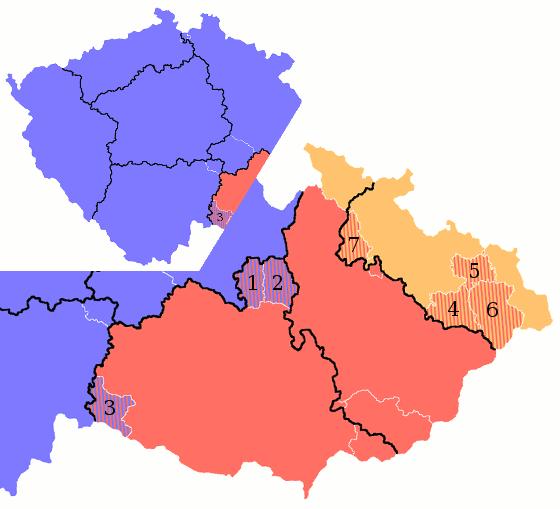 návrh Stanislava Řeháka na nové územní členění ČR - mapa