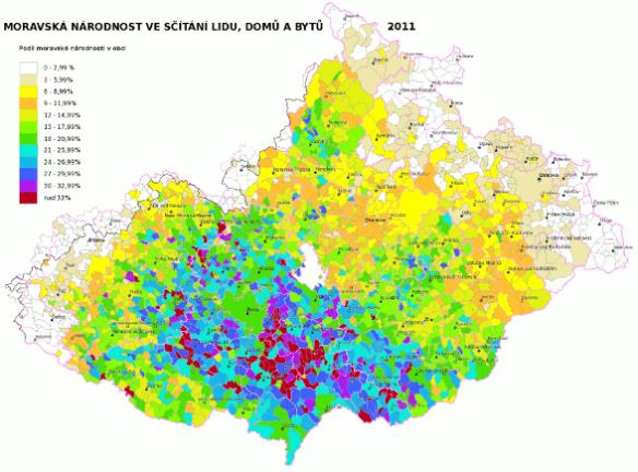 moravská národnost ve sčítání lidu 2011 podle obcí