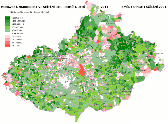 moravská národnost ve sčítání lidu 2011 - rozdíl proti sčítání 2001 podle obcí