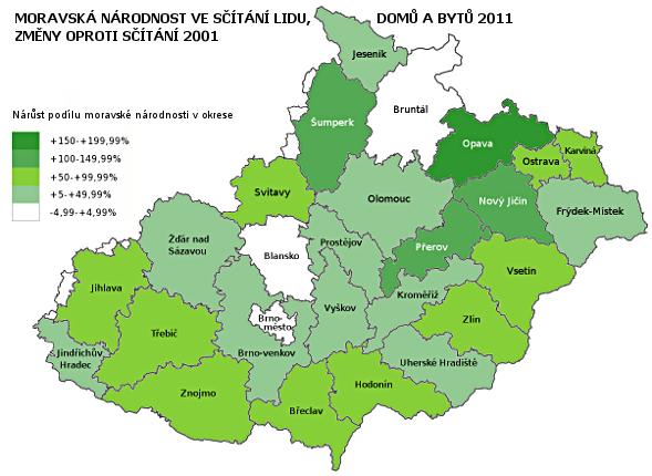 moravská národnost ve sčítání lidu 2011 - rozdíl proti sčítání 2001 podle okresů