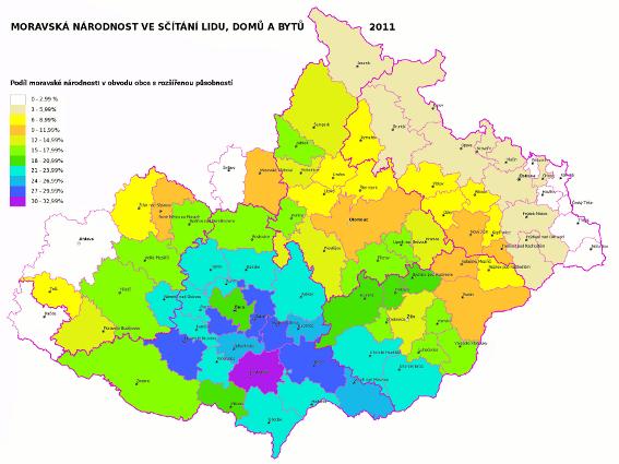 moravská národnost ve sčítání lidu 2011 - obvody obcí s rozšířenou působností